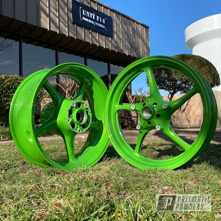 Powder Coating: Wheels,Automotive,Lime Juice Green PMB-2304,Motorcycle Wheels,Motorcycles
