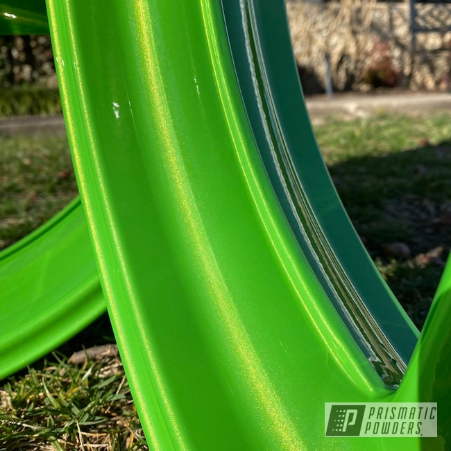 Powder Coating: Wheels,Automotive,Lime Juice Green PMB-2304,Motorcycle Wheels,Motorcycles