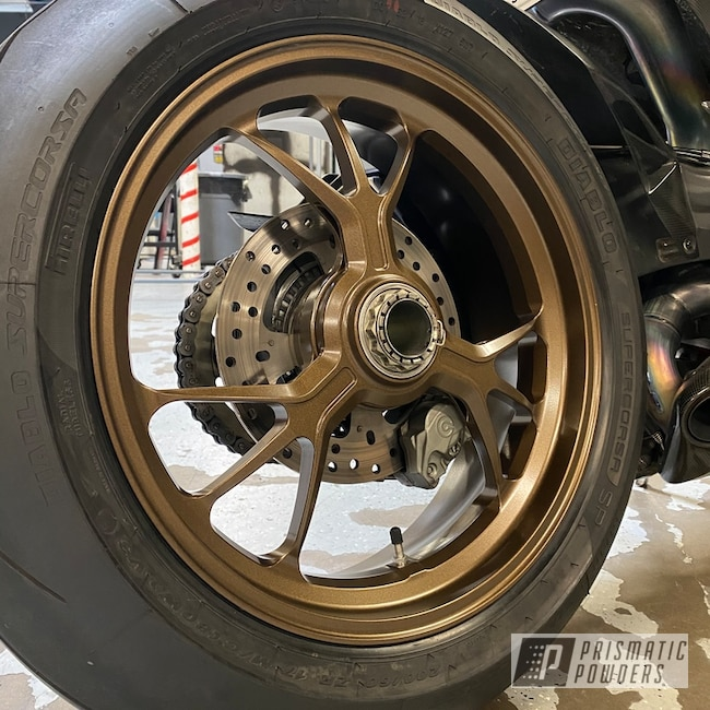 Powder Coating: Wheels,Ducati,Automotive,Soft Clear PPS-1334,Motorcycle Wheels,Motorcycles,Highland Bronze PMB-5860