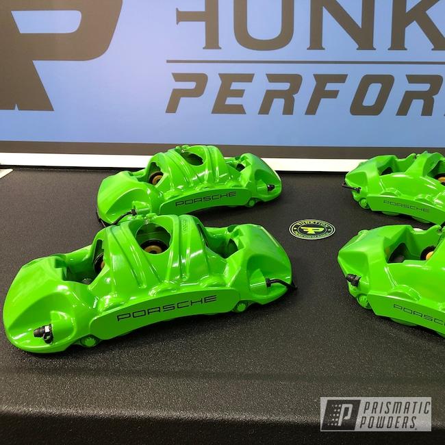 Powder Coating: Automotive,Calipers,Brakes,Brake Calipers,Porsche,Sweet Pea Green PSS-1070,Automotive Parts,Porsche Brake Kit