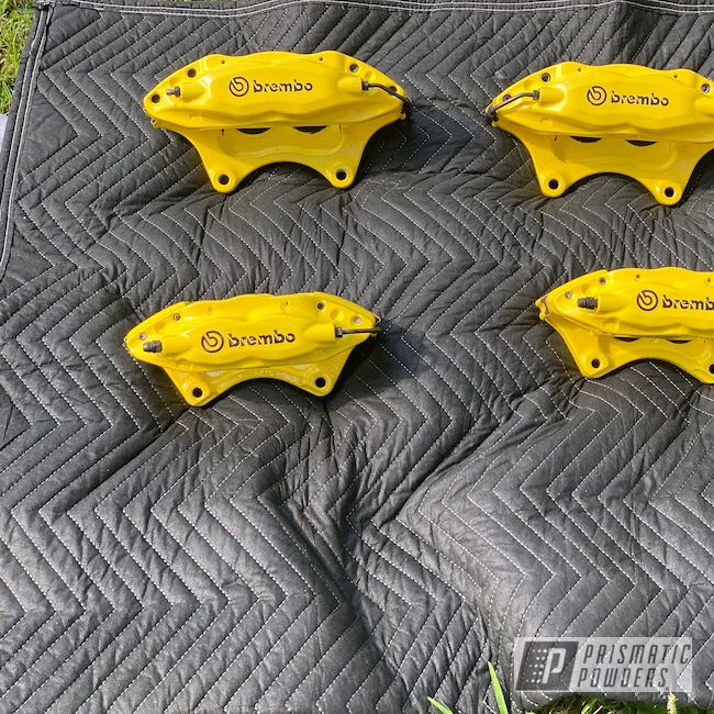 Powder Coating: Automotive,Clear Vision PPS-2974,Brakes,Brembo,GLOSS BLACK USS-2603,Brake Calipers,Brembo Brake Calipers,Electric Yellow PSS-2834,Brembo Caliper