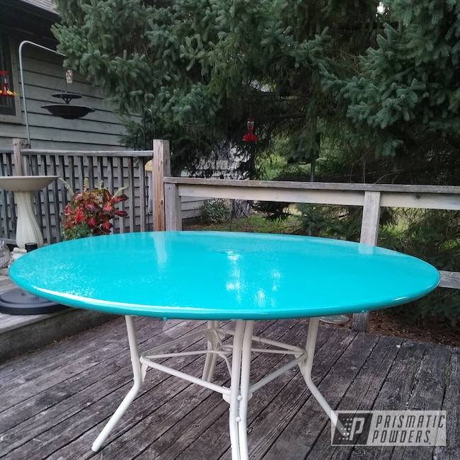 Powder Coating: Patio Furniture,Retro Patio Table,Indian Turquoise PSS-2791,RAL 9010 Pure White,Furniture