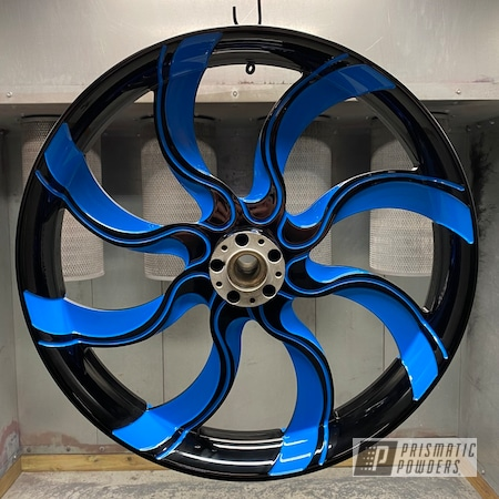 Powder Coating: Wheels,Automotive,Harley Davidson,Ink Black PSS-0106,Playboy Blue PSS-1715,Motorcycles,Automotive Wheels