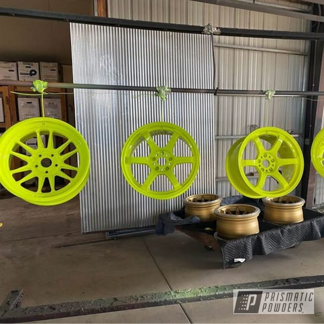 Powder Coating: Wheels,Automotive,rockin rims,Applied Plastic Coatings,Neon Yellow PSS-1104,Neon Yellow