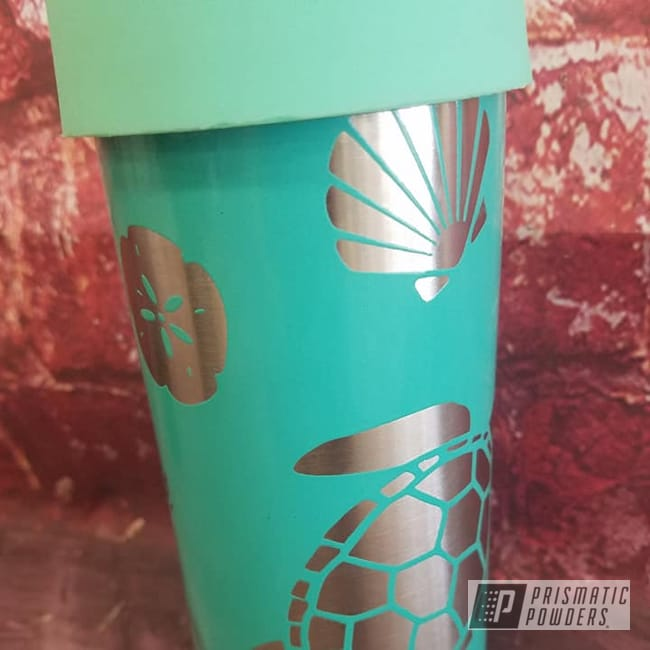 Powder Coating: Tropical Breeze PSS-6837,Hogg Tumblers,Can Koozie,Custom Logo,Skinny Can Koozie