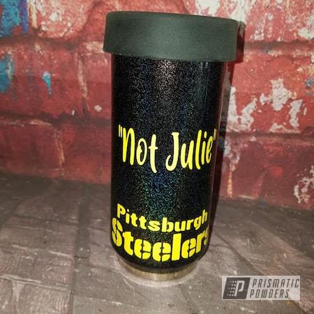 Powder Coating: Drinkware,City Lights PMB-2689,RAL 1018 ZincYellow,Steelers,Can Koozie,Custom Logo,Koozie
