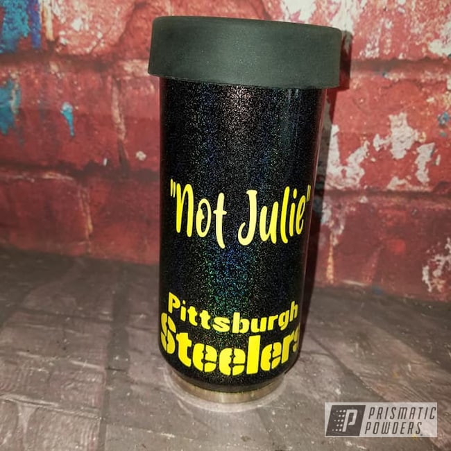 Powder Coating: Drinkware,City Lights PMB-2689,RAL 1018 Zinc Yellow,Steelers,Can Koozie,Custom Logo,Koozie