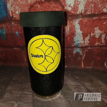 Powder Coated Powder Coated Steelers Themed Can Koozie In Pmb-2689 And Ral 1018