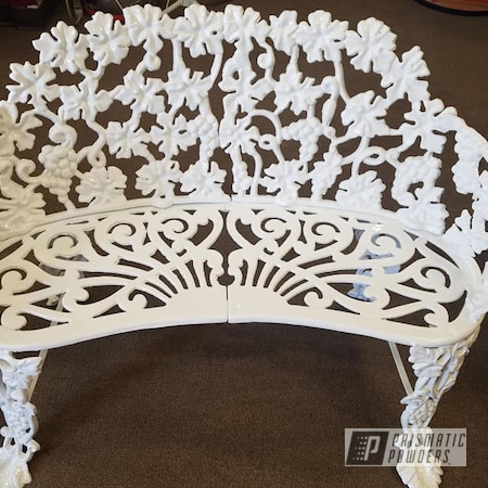 Powder Coating: Outdoor Furniture,Gloss White PSS-5690,Patio Bench,Cast Iron Bench