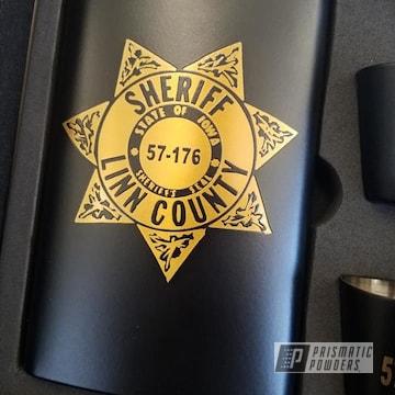 Powder Coated Custom Flask Set In Uss-1522 And Ppb-4499