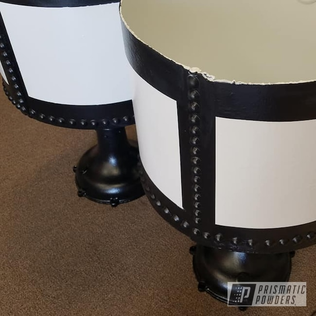 Powder Coating: 2 Color Application,BLACK JACK USS-1522,Vintage Planters,Flower Pots,Vintage,Low Gloss White PSB-6323,Restoration
