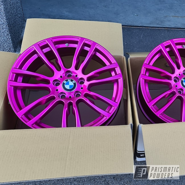 """Powder Coating: Wheels,Automotive,Aluminum Rims,BMW,19"""" Aluminum Rims,Automotive Rims,Car Parts,Automotive Parts,Car Wheels,Automotive Wheels,Aluminum Wheels,Clear Vision PPS-2974,BMW Wheels in Illusion Pink,Illusion Pink PMB-10046"""