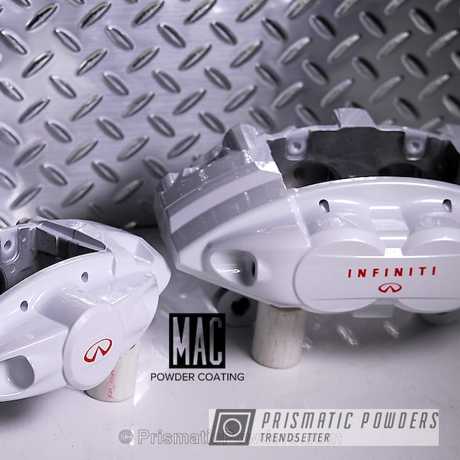 Powder Coating: Automotive,Clear Vision PPS-2974,Akebono Brake Calipers,Clear Top Coat,Infinity Brake Calipers