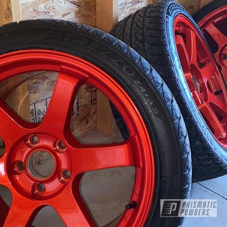 "Powder Coating: Wheels,Automotive,Clear Vision PPS-2974,Rays TE37,Illusion Red PMS-4515,Infiniti,18"" Aluminum Rims,INFINITI G35"