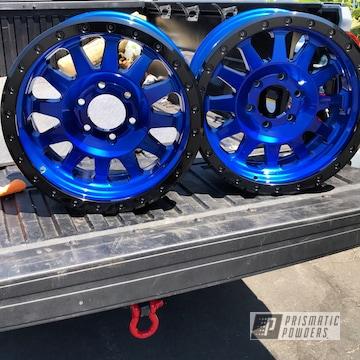 Powder Coated Method Wheels In Lollypop Blue With Ink Black Beadlock Rings
