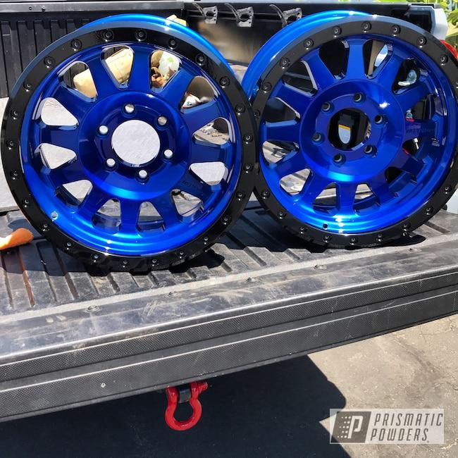 Powder Coating: Wheels,Automotive,Ink Black PSS-0106,LOLLYPOP BLUE UPS-2502,Automotive Wheels
