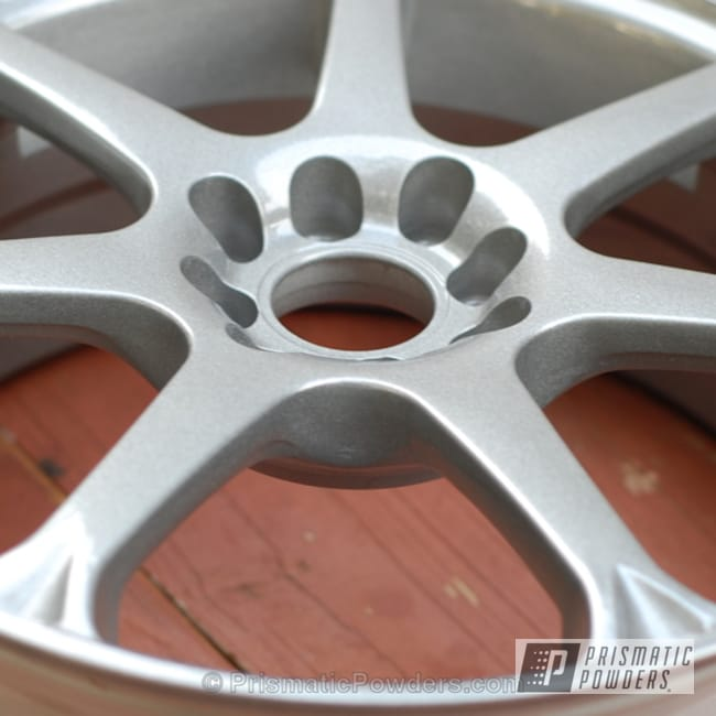 Powder Coating: Wheels,Custom,Clear Vision PPS-2974,Nissan Sentra Wheels,silver,powder coating,powder coated,Prismatic Powders,Victory Silver PMB-5274