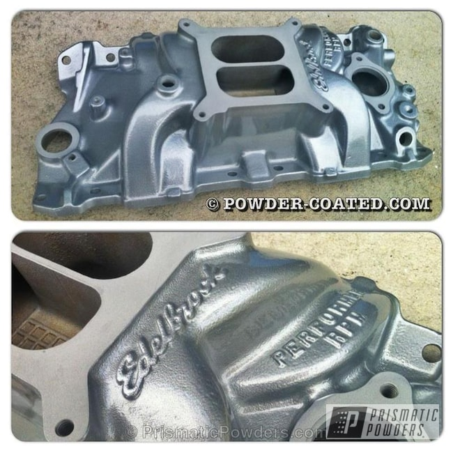 Powder Coating: Automotive,Clear Vision PPS-2974,Alloy Silver PMS-4983,ALLOY SILVER EDELBROCK INTAKE MANIFOLD