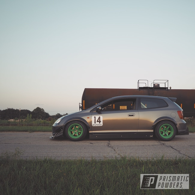 Powder Coating: Lucky Green PSB-6710,Wheels,Automotive,Civic Si,Honda,Aluminum Wheels