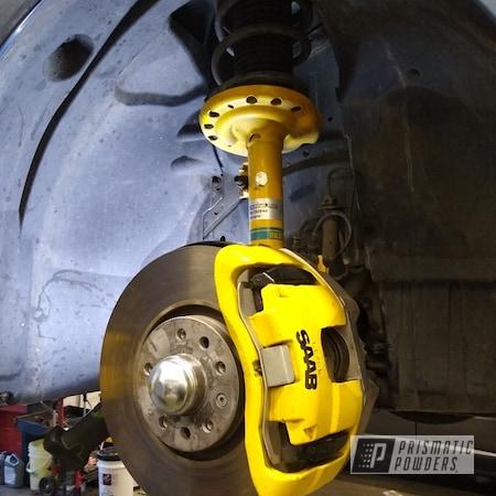 Powder Coating: Caterpillar Yellow II PSS-2550,Automotive,Brakes,Saab 9-3,Saab Automobile,Custom Brake Calipers
