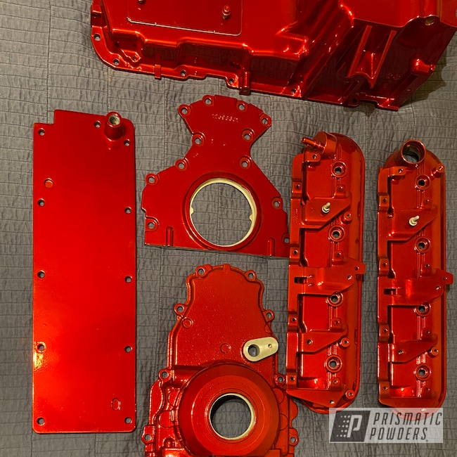 Powder Coating: Automotive,2 Color Application,LOLLYPOP RED UPS-1506,Valve Covers,Oil Pan,SUPER CHROME II PSS-10300,Automotive Parts