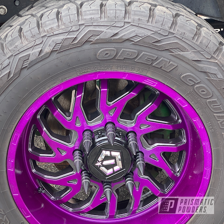 Powder Coating: Wheels,Automotive,Clear Vision PPS-2974,Kingsport Grey PMB-5027,Fractured Violet PVB-10297,Automotive Rims,Two Toned