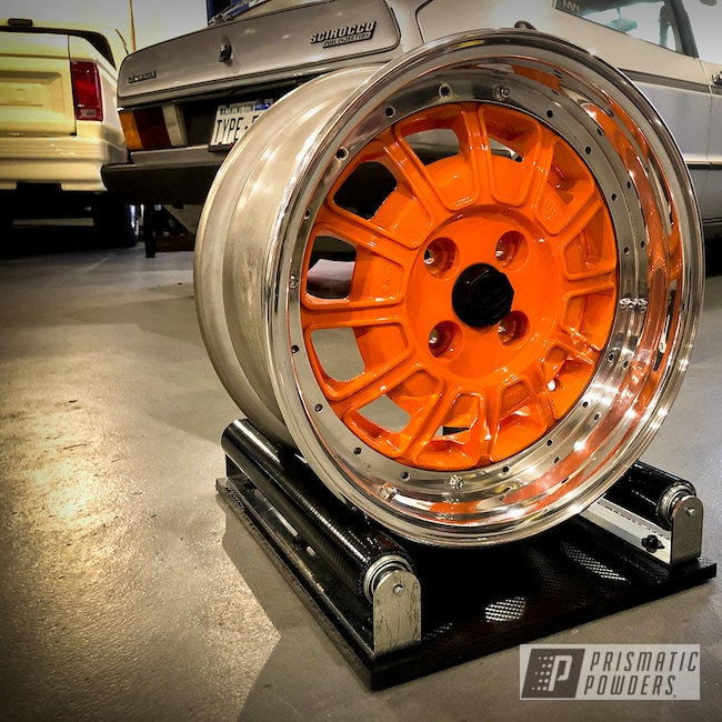 Powder Coating: Wheels,Automotive,Alloy Wheels,Clear Vision PPS-2974,VW Scirocco,New Tucker Orange PMB-4209,Aluminum,Mk1 Scirocco,Meister Werks,12 Spoke Sports