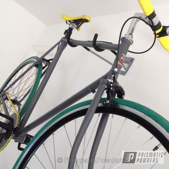 Powder Coating: Custom,Bicycles,Grey bike,powder coating,powder coated,Prismatic Powders,Custom Bike,Grey Metallic PMB-4999,Casper Clear PPS-4005