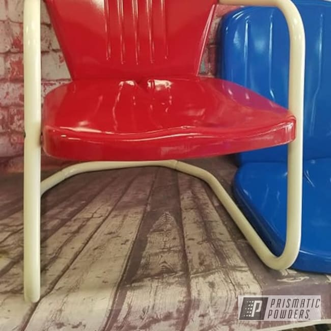 Powder Coated Refinished Patio Chair In Ral 1013 And Ral 3002