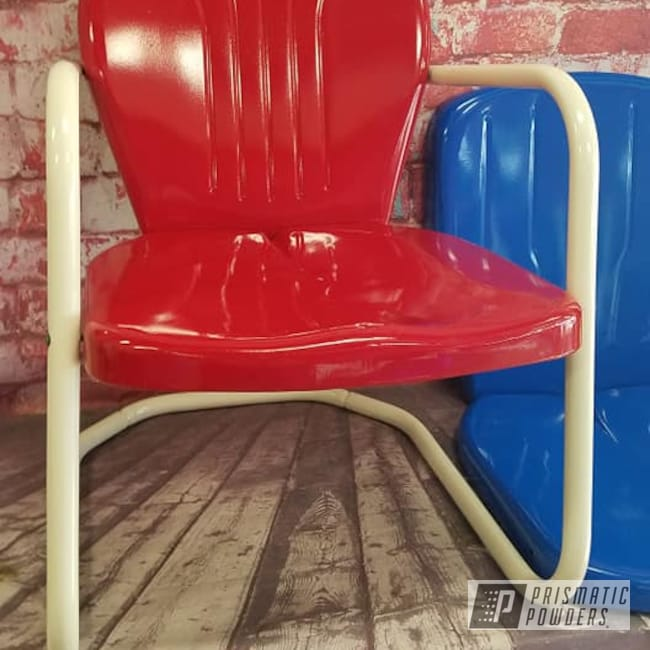 Powder Coating: Vintage Chairs,Patio Chairs,RAL 1013 Oyster White,Patio Furniture,Patio Chair,RAL 3002 Carmine Red