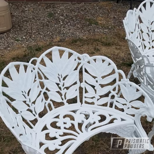 Powder Coating: Patio Furniture,Low Gloss White PSB-6323,Vintage Cast Iron Bench,Vintage Furniture