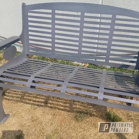 Powder Coating: Custom Park Bench,Custom Mix,Desert White Wrinkle PWS-2763,Outdoor Furniture,Custom Outdoor Furniture,PEWTER TEXTURE UTS-1269,Patio Bench,Park Bench