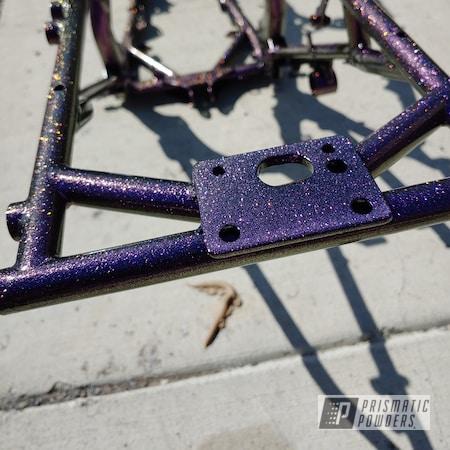 Powder Coating: quad frame,Automotive,2 Color Application,Banshee,Yamaha,Ink Black PSS-0106,Frame,Chameleon Cherry PPB-5735,ink black,Four Wheeler