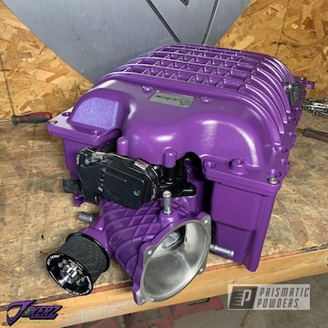 Powder Coated Hellcat Supercharger In Blue Lilac