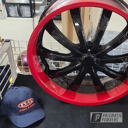 "Powder Coating: Wheels,Automotive,Custom Two Tone,Rims,Ink Black PSS-0106,Dodge,24"",Flag Red PSS-0105"