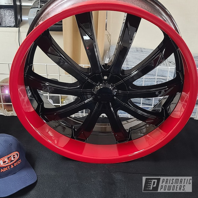 "Powder Coating: Wheels,Automotive,Custom Two Tone,Rims,Ink Black PSS-0106,Dodge,24"",Flag Red PSS-0105"