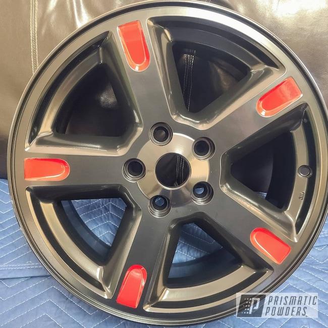 "Powder Coating: Card Black PSS-1523,Wheels,Automotive,Nitro,Custom Two Tone,17"" Aluminum Rims,Dodge,Two Tone,Automotive Rims,Bellrose Red PSS-2266"