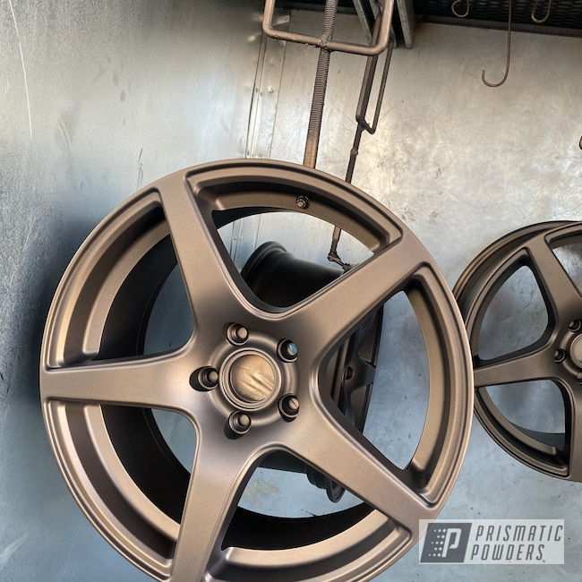 Powder Coating: MATTE CLEAR PPB-4509,Wheels,Automotive,Alloy Wheels,TRIPLE BRONZE UMB-4548,Matte Finish