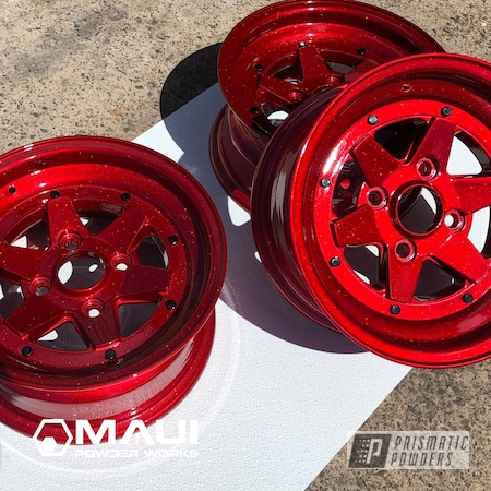 "Powder Coating: Wheels,Automotive,Clear Coat,Old School,15"" Aluminum Rims,DIAMOND RED UPB-5019"