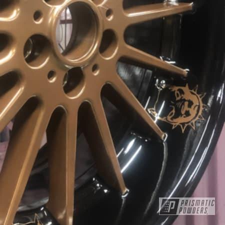 Powder Coating: Wheels,Custom,Automotive,Alloy Wheels,GLOSS BLACK USS-2603,Chevy,US BRONZE UMB-0493,Aluminum Wheels