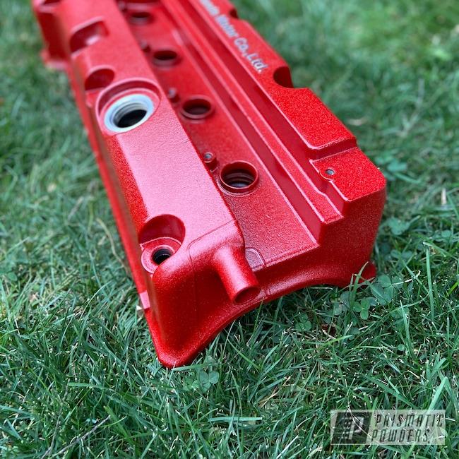 Powder Coating: Automotive,City Lights PMB-2689,Honda,Desert Red Wrinkle PWS-2762,Valve Cover