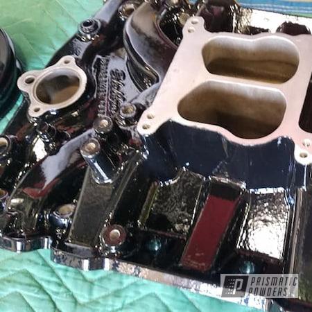 Powder Coating: Intake Manifold,Automotive,Edelbrock,Ink Black PSS-0106,manifold,Intake,Engine Parts,Automotive Parts,ink black