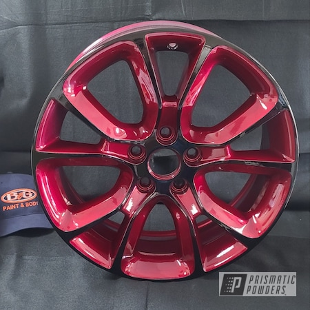 """Powder Coating: Wheels,Automotive,Alloy Wheels,Clear Vision PPS-2974,17"""" Aluminum Rims,Ink Black PSS-0106,Illusion Cherry PMB-6905,Two Tone,Two Toned"""