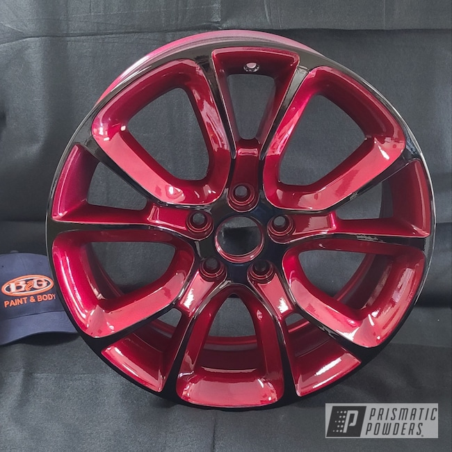 "Powder Coating: Wheels,Automotive,Alloy Wheels,Clear Vision PPS-2974,17"" Aluminum Rims,Ink Black PSS-0106,Illusion Cherry PMB-6905,Two Tone,Two Toned"