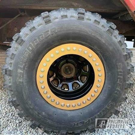 Powder Coating: Wheels,Goldtastic PMB-6625,Automotive,Two Piece Wheels,Ink Black PSS-0106,Steel Wheels,Truck Rims,Automotive Rims,Automotive Wheels