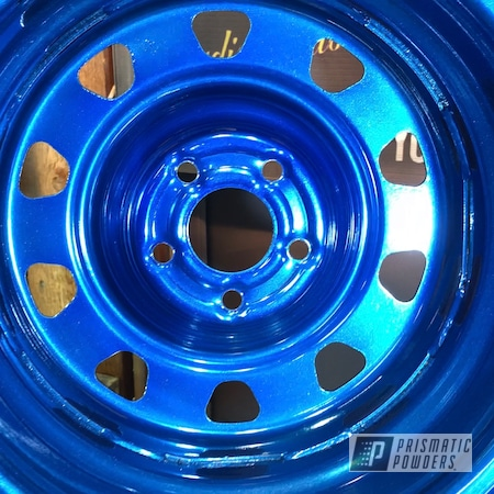 Powder Coating: Booty Blue PPB-2757,Wheels,Automotive,SUPER CHROME II PSS-10300,Steel,Hyundai,Steel Rims