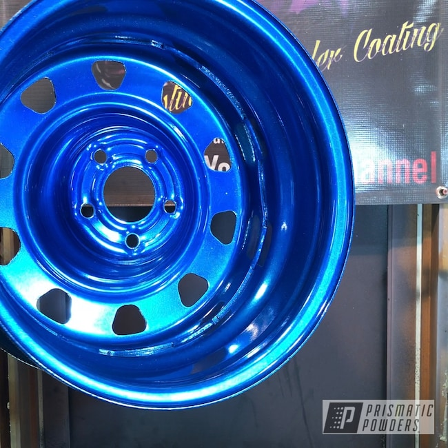 Powder Coating: Booty Blue PPB-2757,Wheels,Automotive,SUPER CHROME II PSS-10300,Steel,Hyundai,Steel Rims
