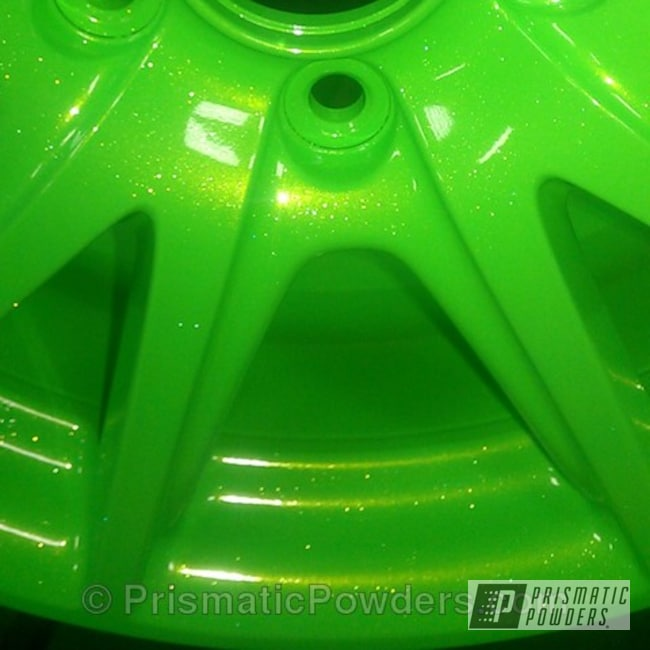 Powder Coating: Wheels,Clear Vision PPS-2974,Honda wheels,Limelite PMB-0869,Green,Amity Gold/Green PPB-6010