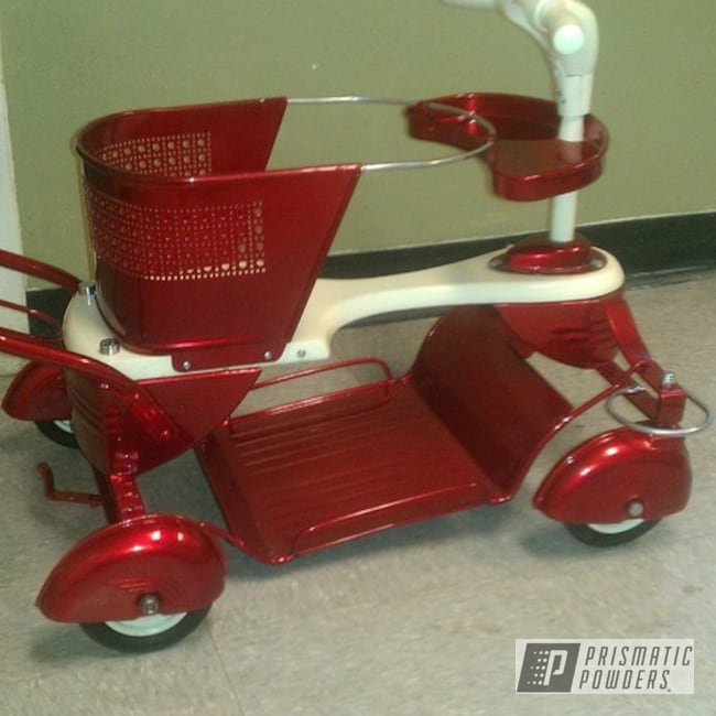 Powder Coating: SUPER CHROME USS-4482,chrome,red,APPLE SPICE - 20 PPB-4769,Miscellaneous,Old School Child Stroller