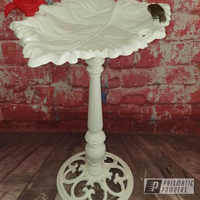 Powder Coating: Cerakote,Multi Color,Yard Art,Outdoor Decor,Low Gloss White PSB-6323,Bird Bath